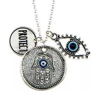 Silver hamsa, evil eye & protect charm necklace